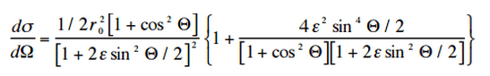 The angular distribution of photons scattered from a single free electron is described by the Klein-Nishina formula